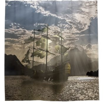 Haunted Ghost Pirate Ship Ocean Art Shower Curtain