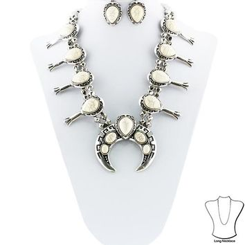 Statement Squash Blossom Necklace with Earrings Set