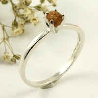 Rough Diamond Ring on Silver  Engagement Ring  by LiansElegance