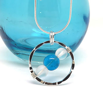 Hammered Circle Necklace, Sea Glass Pendant, Sterling Silver Circle Jewelry, Blue Cats Eye Necklace