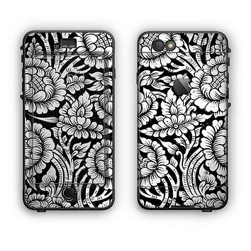The Black & White Mirrored Floral Pattern V2 Apple iPhone 6 Plus LifeProof Nuud Case Skin Set