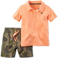 Carter's Baby Boys' 2-Pc. Polo & Leaf-Print Shorts Set | macys.com