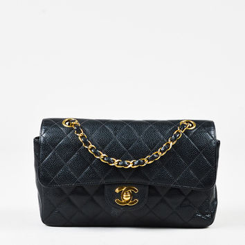 """Chanel Vintage Black Caviar Leather Quilted Small """"Classic Double Flap"""" Bag,Black purses and crossbody bags  in summer 2017"""