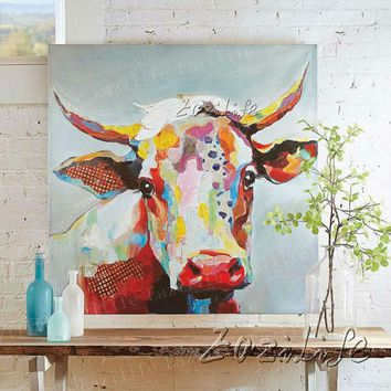 DKF4S Cow Oil painting Handmade On Canvas Wall Art Pictures Painting For Living Room Modern Abstract Quadros Hand Painted Home decor