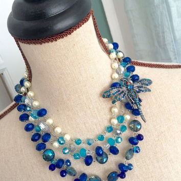 Multi Strand Beaded Statement Necklace with Dragonfly Brooch