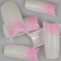 100PCS/Pack Beauty Pink Mix White Glitter Design Acrylic Tip False French Nail Tips New-in False Nails from Health & Beauty on Aliexpress.com | Alibaba Group