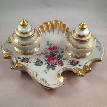 Antique Inkwell For Desk Top With Gold Gild and Roses By Orlik Germany Hand Painted Victorian Country Chic