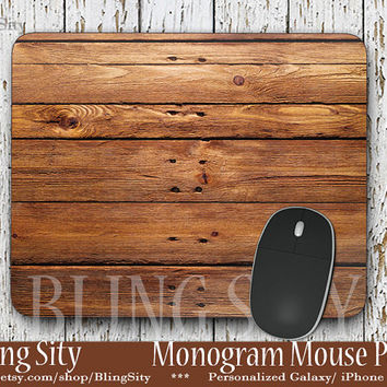 Wood Print Mouse Pad, Faux Wood Grain  Mousepad Custom Personalized Mouse pad Monogrammed Coasters