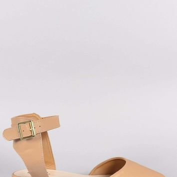 Qupid Almond Toe Buckled Ankle Strap Flat