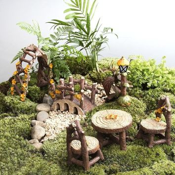 Xmax Christmas Decoration 8 Pcs Miniature Woodland Outdoor Bonsai Furniture Set Figurine Collections Hand Painted Kit Fairy Gard
