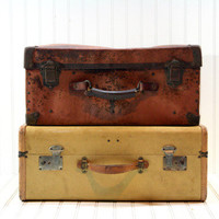Vintage Stack of Suitcases / Vintage Suitcase / Luggage Large