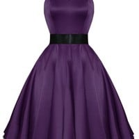 Kelly Dress in Purple Satin - Dresses - Column 1 - Clothing