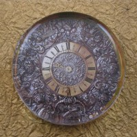 Silver and Gold Plate Watch Large Round Glass Paperweight Home Decor