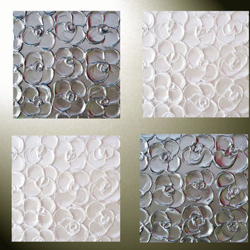 Custom Art Abstract Paintings Metallic Sculpted Wall Decor Set of 4 -12x12 Home Decor Gift Textured Silver Pearl White Flowers MADE TO ORDER