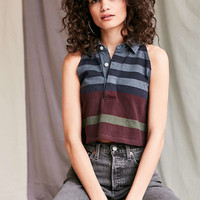 Urban Renewal Recycled Cropped Sleeveless Rugby Shirt - Urban Outfitters