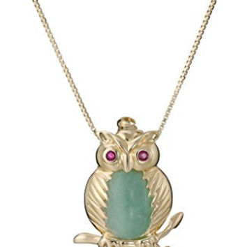 18k Yellow Gold Over Sterling Silver Green Jade and Ruby Eyes Owl Pendant Necklace, 18""