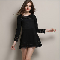 Black Cutout Mesh Stripe Long-Sleeve Dress