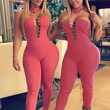 Pink Plain Hollow-out Halter Neck High Waisted Long Jumpsuit
