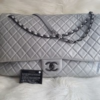 CHANEL XXL Classic Bag Metallic Silver Calfskin Airlines Collection Spring 2016
