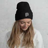 Puff Beanie with White P