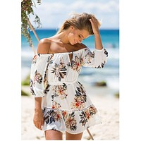 OFF-THE-SHOULDER FLORAL CUT-OUT SUNDRESS