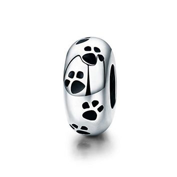 Everbling Dog Puppy Paw Print Pet 925 Sterling Silver Bead Fits European Charm Bracelet