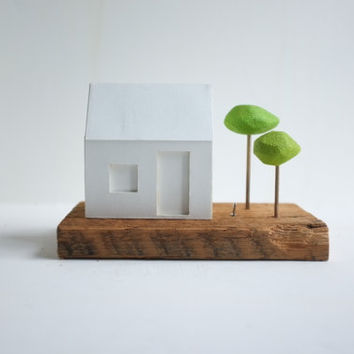 Miniature glowing house with little green trees by 2of2 on Etsy