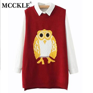 MCCKLE Women Plus size Owl Pattern Sleeveless Vest Girls Oversized Waistcoat Female Knitted Colete 2017 Autumn New Fashion Style