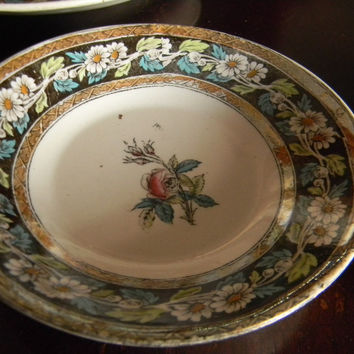 Victorian Aesthetic Movement Brown Turquoise Transferware Candy Bowl Trinket Dish Spode W T Copeland Rose Bud Daisies