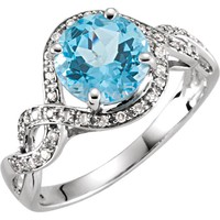14kt White Gold Swiss Blue Topaz & 1/6 CTW Diamond Halo Twist Ring