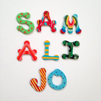 Hand-painted Alphabet Magnets Letters (select your own)