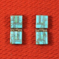 Native American Navajo Turquoise Opal Inlay Earrings
