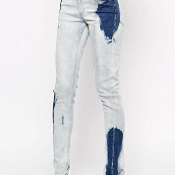 Mid-Waisted Color Block Pocket Design Jeans
