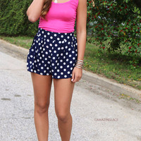 All The Right Moves Navy Polka Dot Shorts