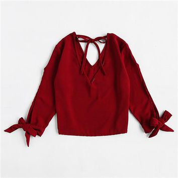Womens Tops Blouses Burgundy Long Sleeve V Neck Cute