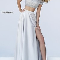 High Neck Two Piece Sherri Hill Dress with Short Sleeves