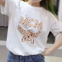 MCM 2018 trendy couple models loose fashion print wild round neck T-shirt F/A