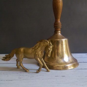 Large Antique Brass Schoolhouse Bell/ Large Brass Handheld Bell/ Antique School Bell/ Gift for Teacher/ Dinner Bell/ Bell Prop