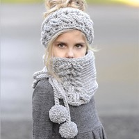 Hats Children Winter Knit Lovely Scarf Bottom & Top [72080719887]