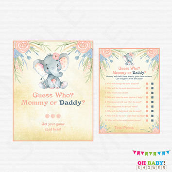 He Said She Said Baby Shower Game Girl, Pink Gold Baby Shower Games, Mommy or Daddy Game, Instant Download, Printable Sign Included ELWP