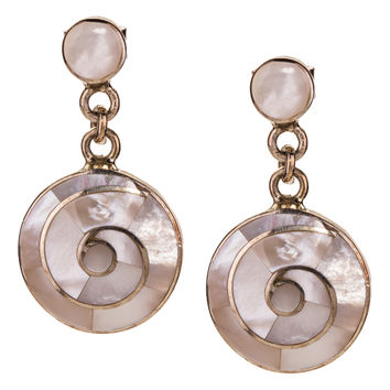 Mother of Pearl and Sterling Silver Drop Earrings