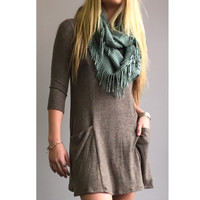 An Infinity Fringe Scarf In Mint