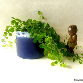 Cobalt blue and white lava glazed Planter by  Marei Keramik, 1960s West Germany,