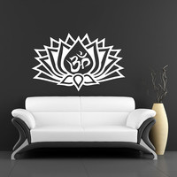 Lotus Flower With Om Sign Yoga Wall Decals - Wall Vinyl Decal - Interior Home Decor - Housewares Art Vinyl Sticker V997