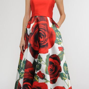 Spaghetti Strap Floral Print Long Prom Dress with Pockets