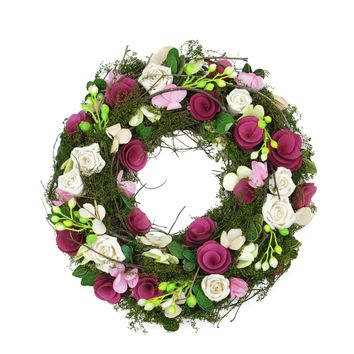 """14"""" Purple and White Flowers and Green Leaves  Berries and Twig Artificial Spring Floral Wreath"""