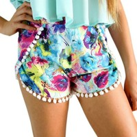 Womens Floral Pom Pom High Waisted Tassel Flowers Print Beach Casual Gym Shorts (M, Black)