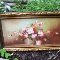 Robert Cox Painting Beautiful Pink Flowers Roses Shabby Country Art