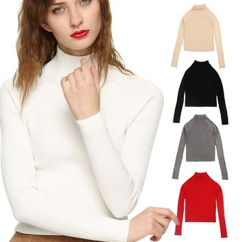 2017 Spring Autumn Women Turtleneck Sweater High Elastic Solid Slim Fit Sexy Tight Bottoming Basic Knitted Pullovers H9