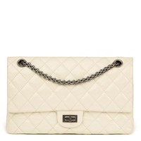 CHANEL MILK-WHITE QUILTED PATENT LEATHER 2.55 REISSUE 226 DOUBLE FLAP BAG